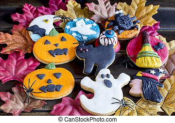 Halloween biscuits background - Top view of sweet halloween...