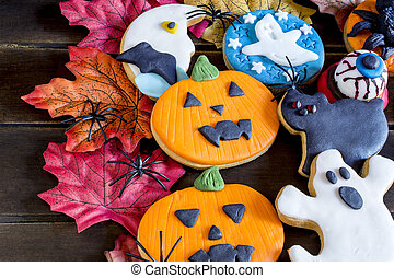 Colorful halloween cookies - Close-up of bright handmade...