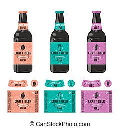 Set of templates label for craft beer. Print on color...