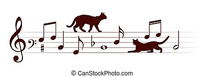 Musical notes with cats.