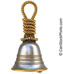 handle bell - bell with a handle made from a metal rope....