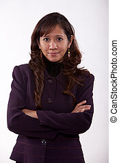 Attractive thirties asian business woman in business suit