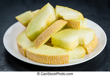 Honeydew Melon (selective focus, close-up shot) - Fresh made...