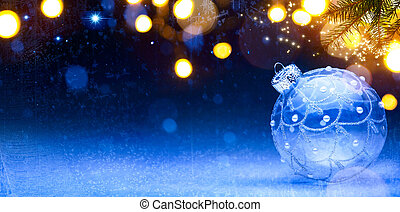art Blue Christmas background; Christmas composition with...