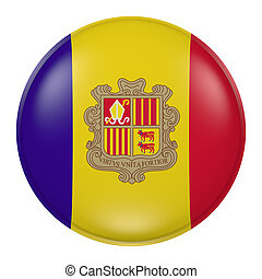 Andorra button - 3d rendering of  Andorra flag on a button