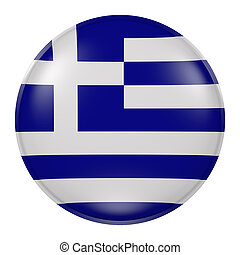 Greece button - 3d rendering of Greece flag on a button