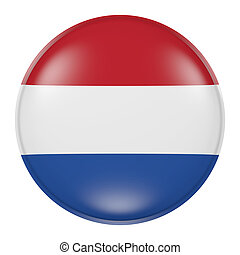 Netherlands button - 3d rendering of Netherlands flag on a...