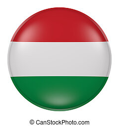 Hungary button - 3d rendering of  Hungary flag on a button