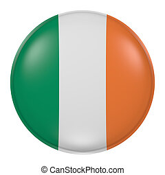 Ireland button - 3d rendering of  Ireland flag on a button
