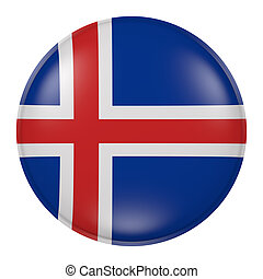 Iceland button - 3d rendering of Iceland flag on a button