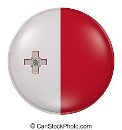 Malta button - 3d rendering of Malta flag on a button