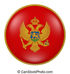 Montenegro button - 3d rendering of Montenegro flag on a...