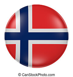 Norway button - 3d rendering of  Norway flag on a button