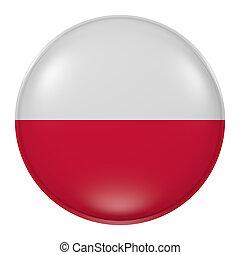 Poland button - 3d rendering of  Poland flag on a button