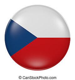 Czech Republic button - 3d rendering of Czech Republic flag...