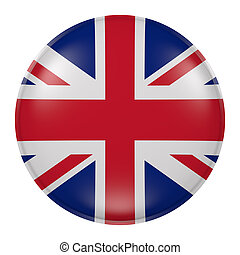 United Kingdom button - 3d rendering of United Kingdom flag...