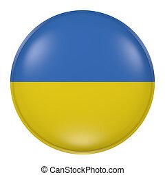 Ukraine button - 3d rendering of  Ukraine flag on a button