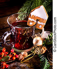 Christmas still life with hot drink and spruce branch. -...
