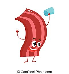 Funny roasted, fried, grilled bacon strip character, cartoon...