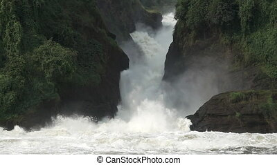 Murchison Falls closeup in super slow motion - Closeup view...