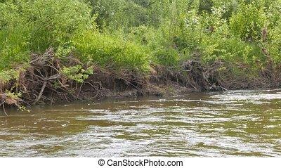 River bank. Serga, Urals, Russia. UltraHD (4K)