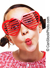 Little girl with shutter shades - Portrait of pretty little...