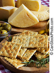Salty cracker and hard cheese - Salty cracker with hard...