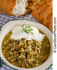 Lentil, cereal and bean soup