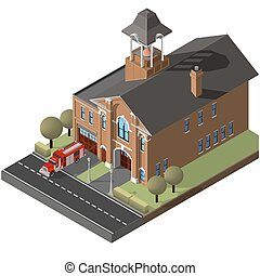 isometric firehouse and firetruck. - A vector illustration...