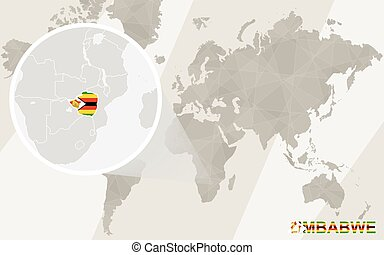 Zoom on Zimbabwe Map and Flag. World Map.