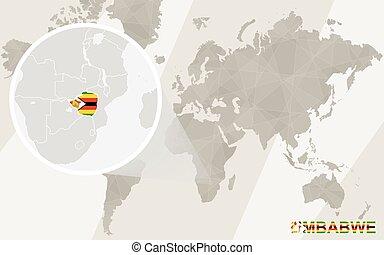 Zoom on Zimbabwe Map and Flag. World Map.