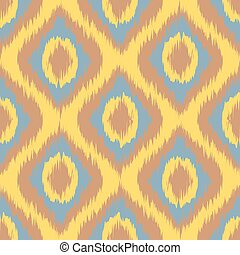 yellow Seamless Camouflage Ogee in Ikat Weave Background...