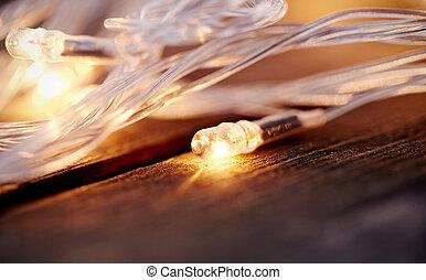 LED bulbs of a Christmas garland