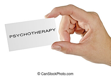 "Giving a card with word ""psychotherapy"""