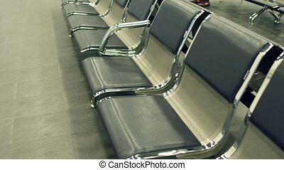 Airport or railway station lounge emty seats. Waiting...