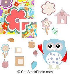 holiday pattern with flowers and owl background