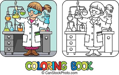 Coloring book of funny chemist or scientist - Coloring...