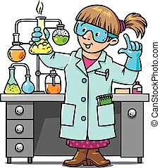 Funny chemist or scientist - Childrens vector illustration...
