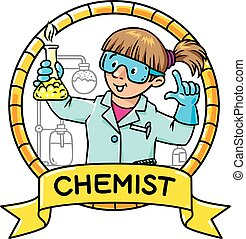 Funny chemist or scientist. Emblem. - Childrens vector...