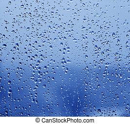 Rain drops on the window - Cold rain drops on the window