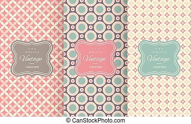 Charming different vector seamless patterns. Sweet pink,...