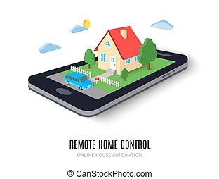 Remote home control concept icon. Vector illustration.