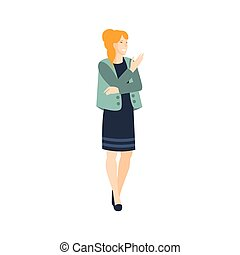 Woman In Dress And Jacket Part Of The Collection Of Young Professional People Office Style And Street Fashion Looks