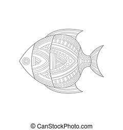 Cool Tropical Fish Sea Underwater Nature Adult Black And White Zentangle Coloring Book Illustration