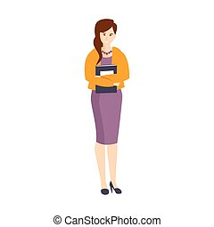 Girl In Purple Dress And Orange Cardigan Holding Papers Part...