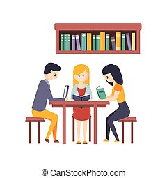 Library Or Bookstore With Students Reading Books And Studying Together At The Desk