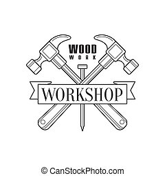 Crossed Hammers And Ribbon Premium Quality Wood Workshop Monochrome Retro Stamp Vector Design Template