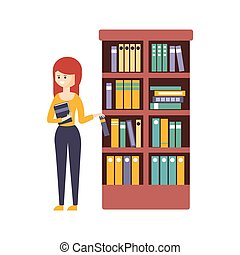 Library Or Bookstore With Young Woman Choosing A Book To...