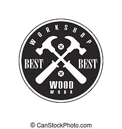 Crossed Hammers In Round Frame Premium Quality Wood Workshop Monochrome Retro Stamp Vector Design Template