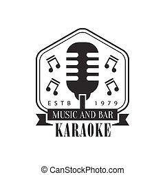 Old-Fashioned Stage Microphone In Frame Karaoke Premium...